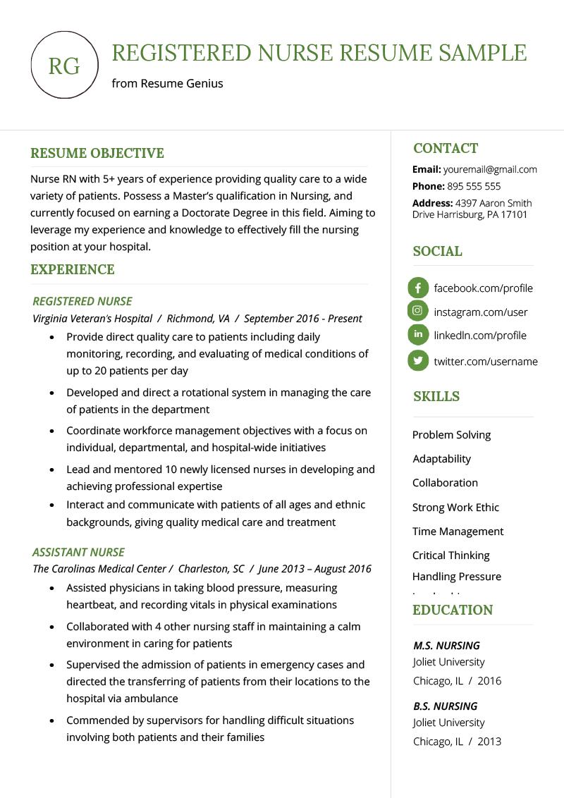 Nursing Resume Sample Writing Guide Resume Genius Nursing Resume Examples Registered Nurse Resume Nursing Resume Template