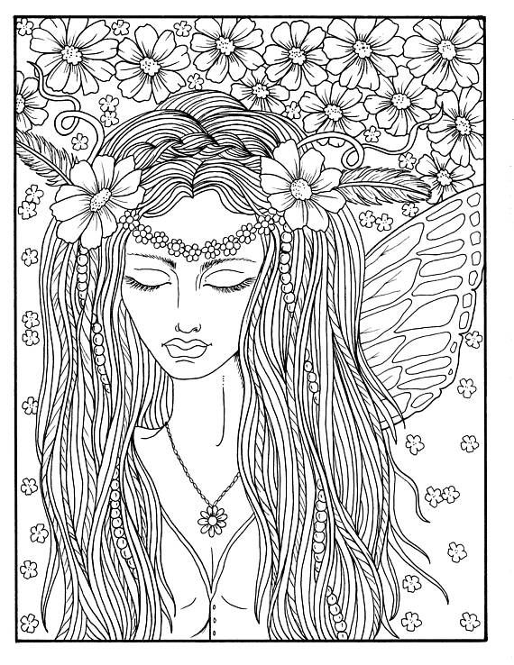 5 Pages Fairies Digital Downloads Instant Coloring Pages ...