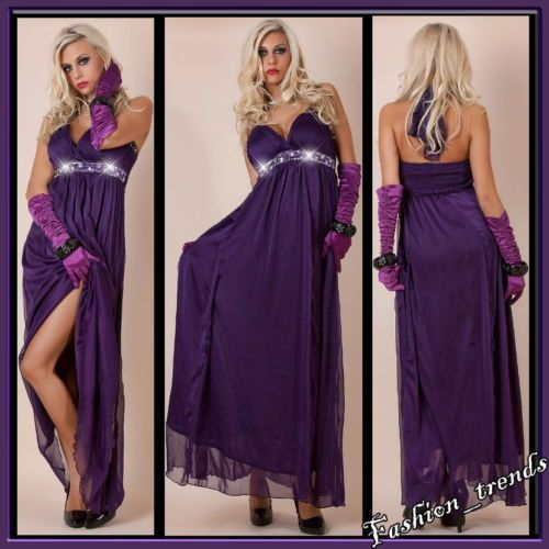 Glitzer Empire Maxi Neckholder Kleid Push up Abendkleid Festkleid*Lila*S/M-36/38 | eBay