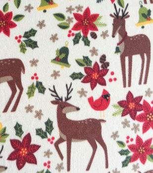Holiday Inspirations™ Christmas Fabric-Reindeer & Poinsettias Fleece