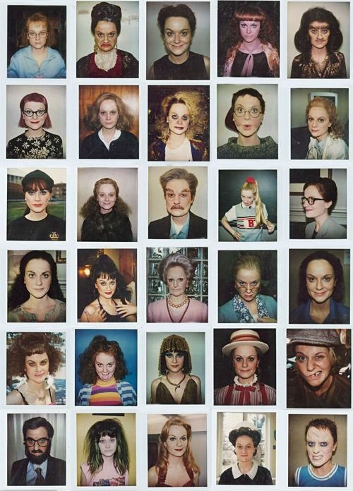 Polaroids of Amy Poehler as different characters of the Upright Citizens Brigade