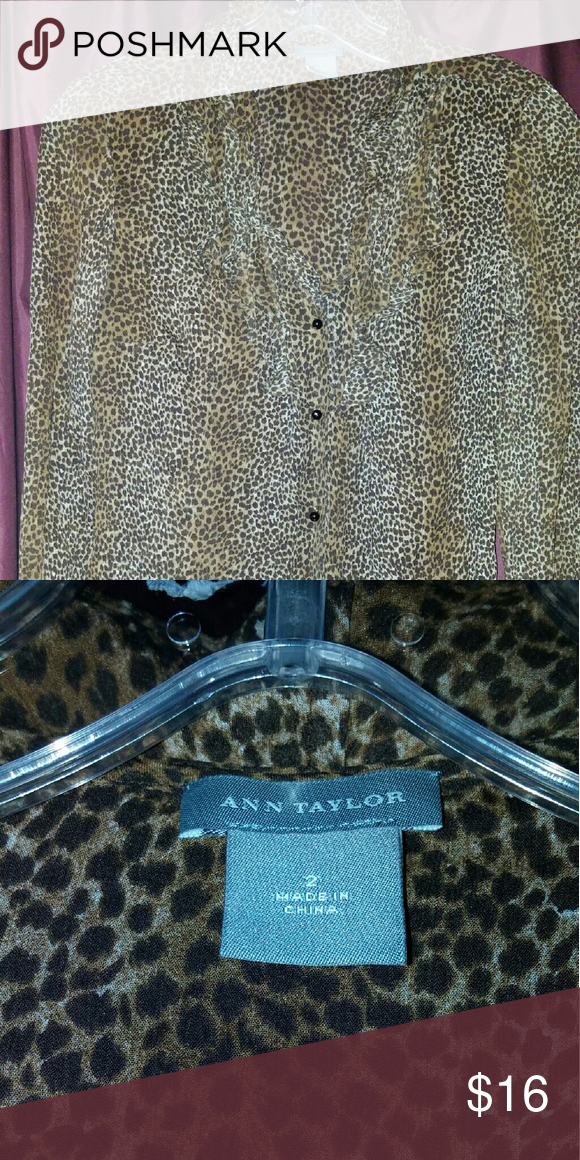 Ann Taylor silk blouse Leopard print silk blouse. Blouse comes down to the hips. Like new. Ann Taylor Tops Blouses