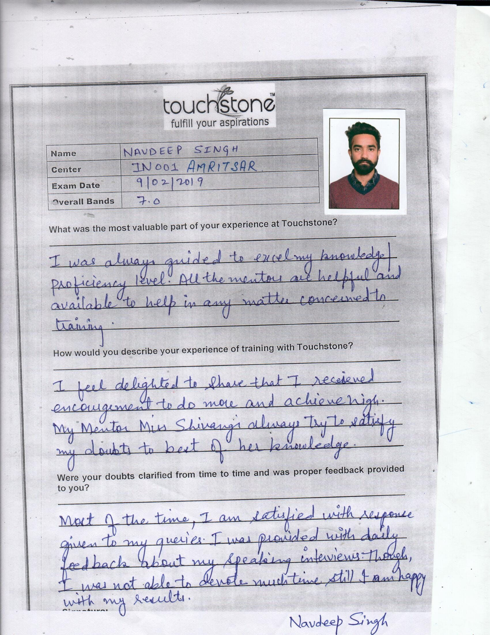 After preparing for IELTS from Touchstone Edu Amritsar