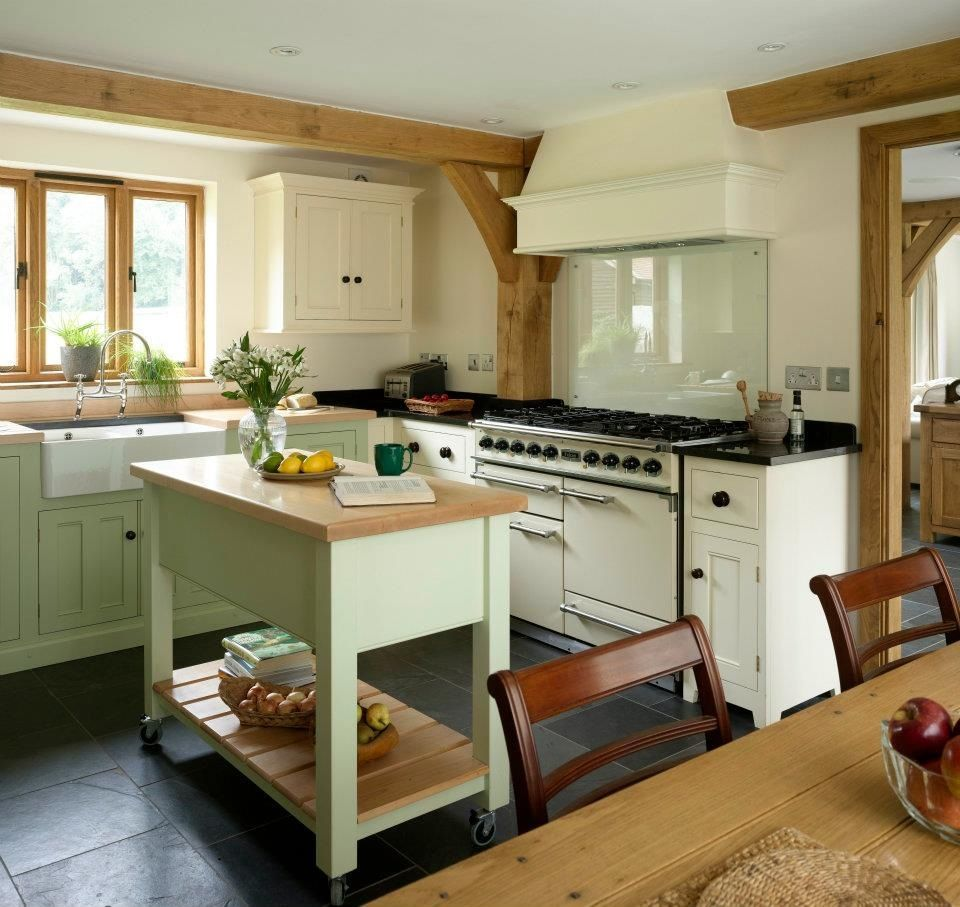 Pale Green Kitchen Units: Pale Green And Cream Cabinets In Kitchen
