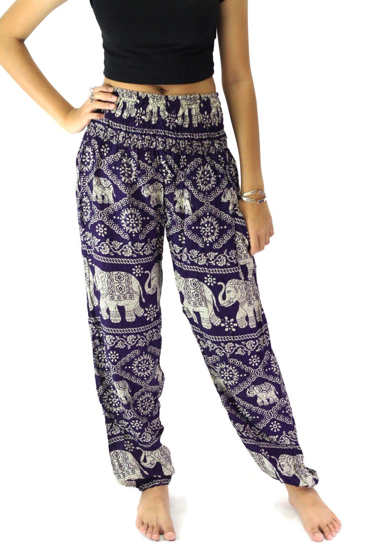 4578844e2c683 hippie pants/harem pants/boho clothing elephant pattern design for yoga one  size fitts all elastic waist ankle in violet women by bangkokpants on Etsy