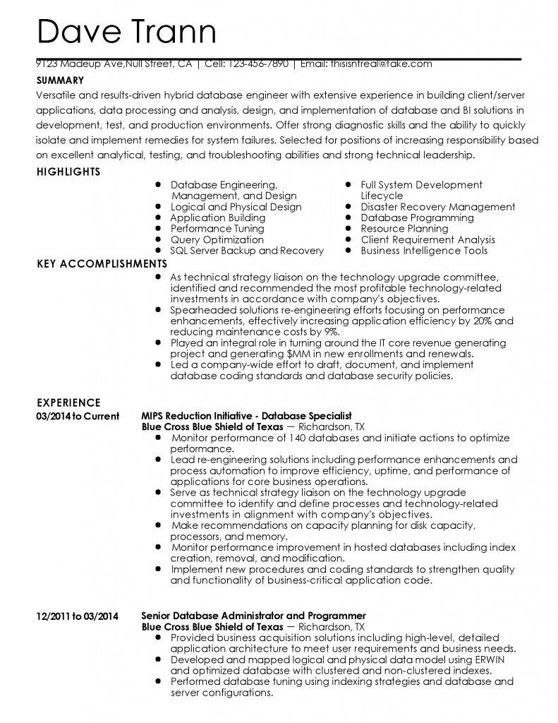 Database Developer Resume 2021 Data Modeling Resume Development