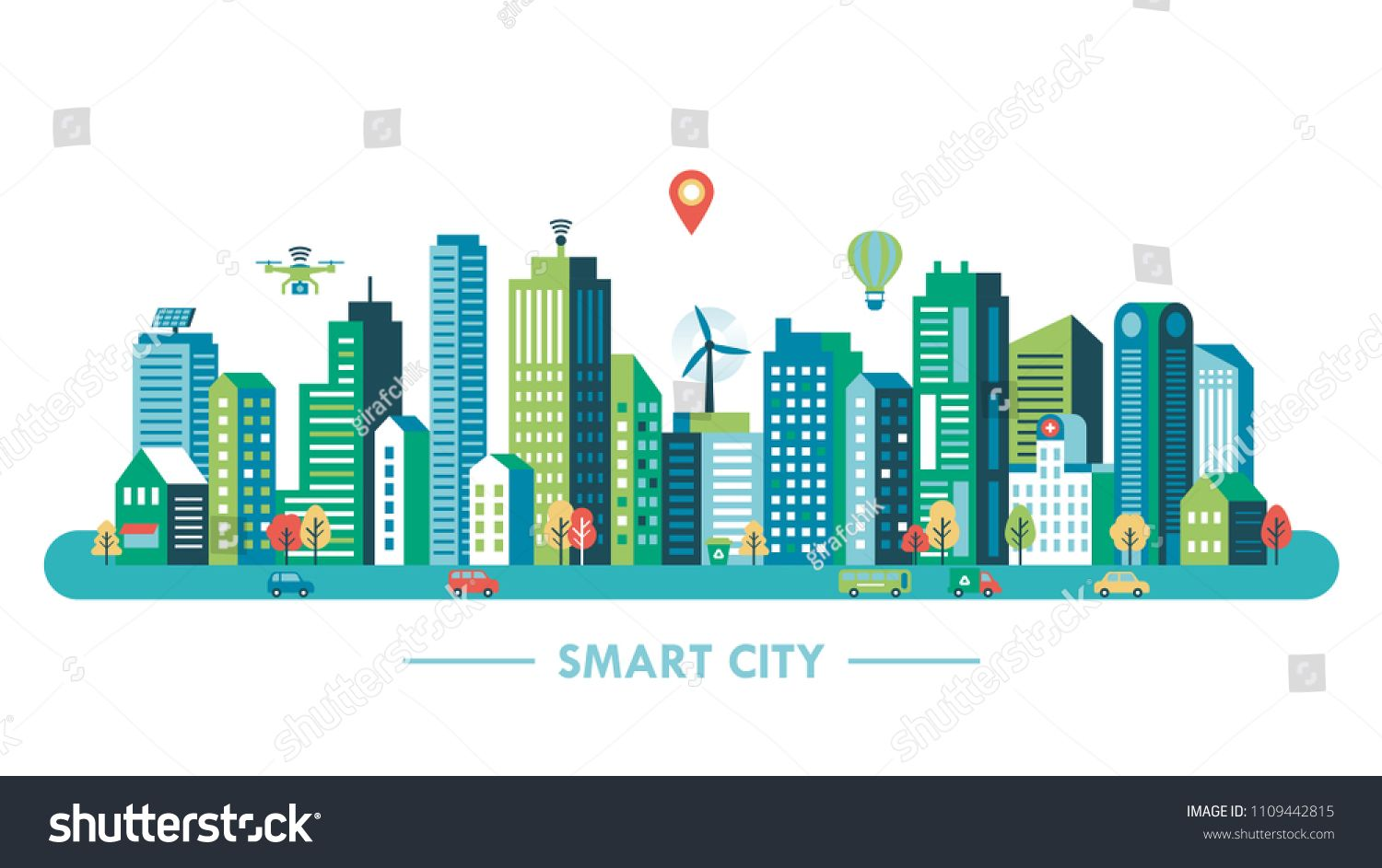 Smart City Concept With Modern Buildings And Network Connection Vector Illustrationconcept Modern Smart City Smart City Modern Buildings Vector Illustration