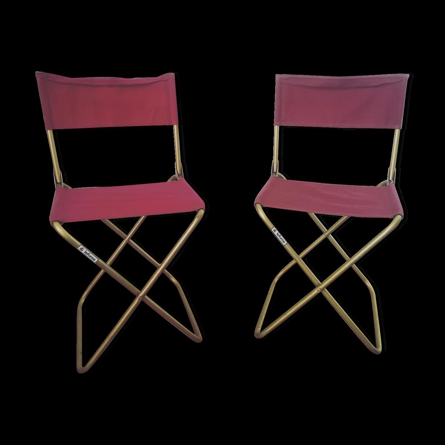 Lot De 2 Chaises Pliantes Lafuma Violettes Annees 70 Chaise Chaises De Camping Et Vendanges