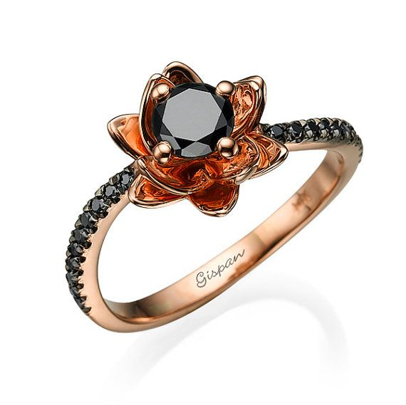 Flower Black Diamond Engagement Ring 14k Rose Gold Unique Etsy Rose Gold Diamond Ring Engagement Black Engagement Ring Black Diamond Ring Engagement