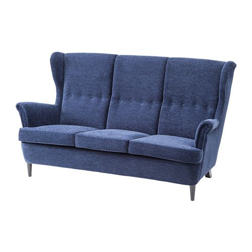 STRANDMON Three-seat sofa IKEA The high back gives good support for ...
