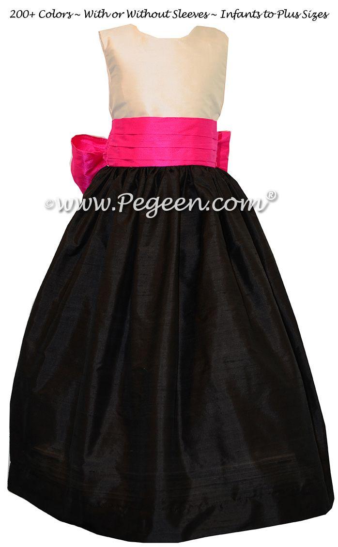 Boing Fuschia White And Black Flower Girl Dresses Hot Pink