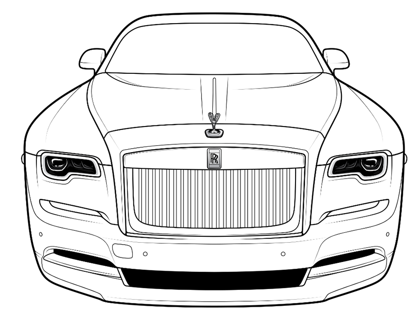 Pin By Coloring Bookz On Cakes Coloring Pages Monochromatic Art Rolls Royce