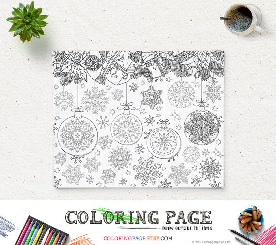 Christmas Coloring Page Snowflakes Printable Digital Art Instant Download Xmas Party Holiday Kids Activity Book Print And Color