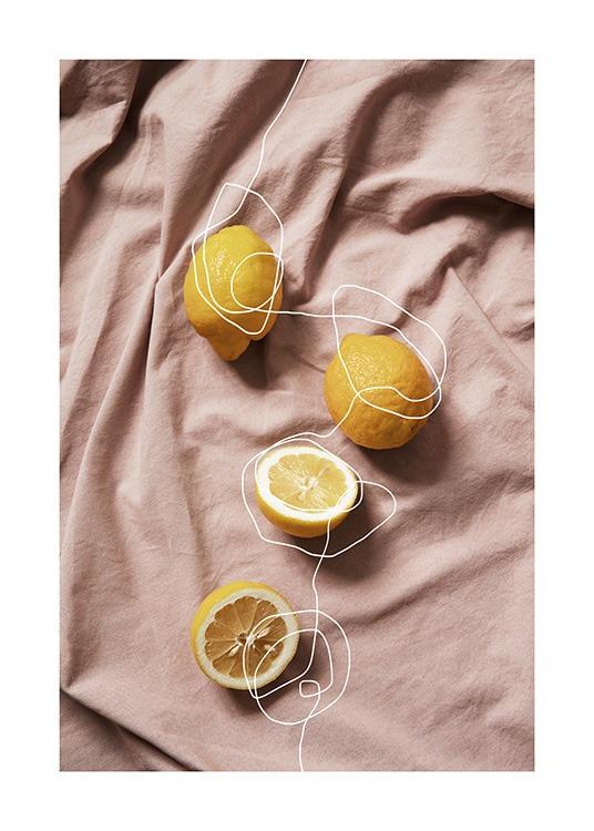 Lemons On Linen Poster Modern Art Prints Online Wall Art Fruit Art