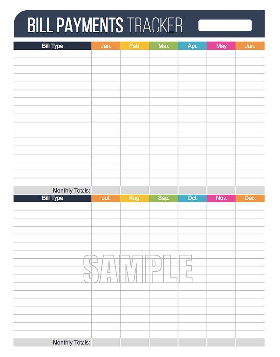 Bill Payments Tracker Printable - Fillable - Personal Finance