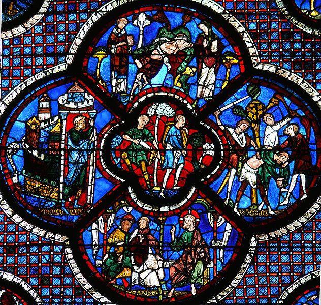 Catedral de Chartres. Francia, siglos XII-XIII. Vitral de la parábola del buen samaritano.