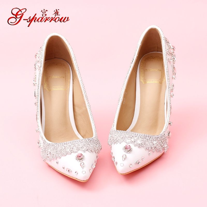 Click to Buy << Women\'s Korean Princess Pink Crystal Pointed Toe ...