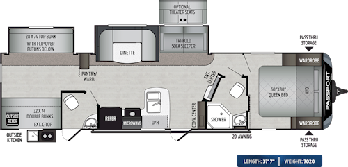 Passport Travel Trailers East Coast Floorplans Keystone Rv Visit Our Website To View Current Floorplans Travel Trailer Floor Plans Keystone Passport