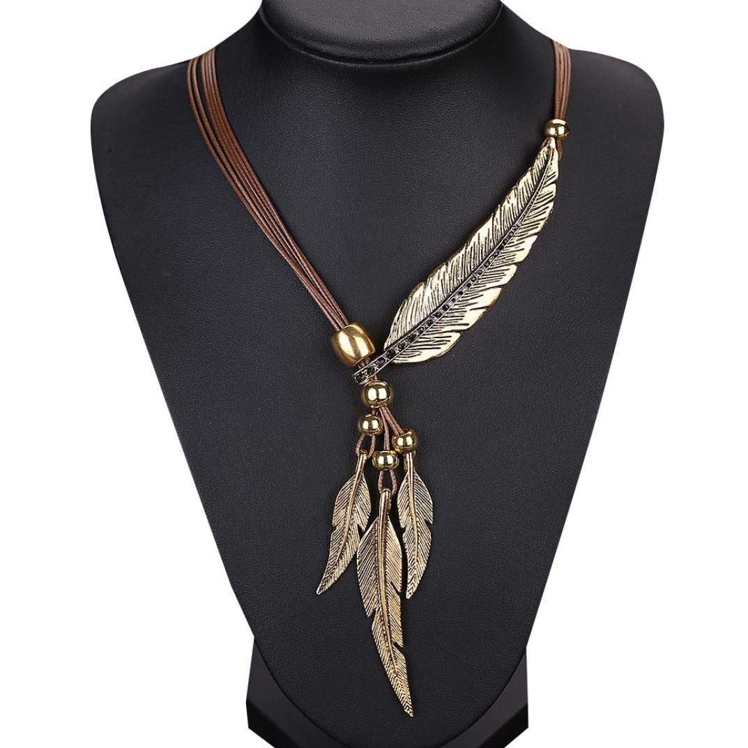Alixyz feather antique vintage time necklace sweater chain