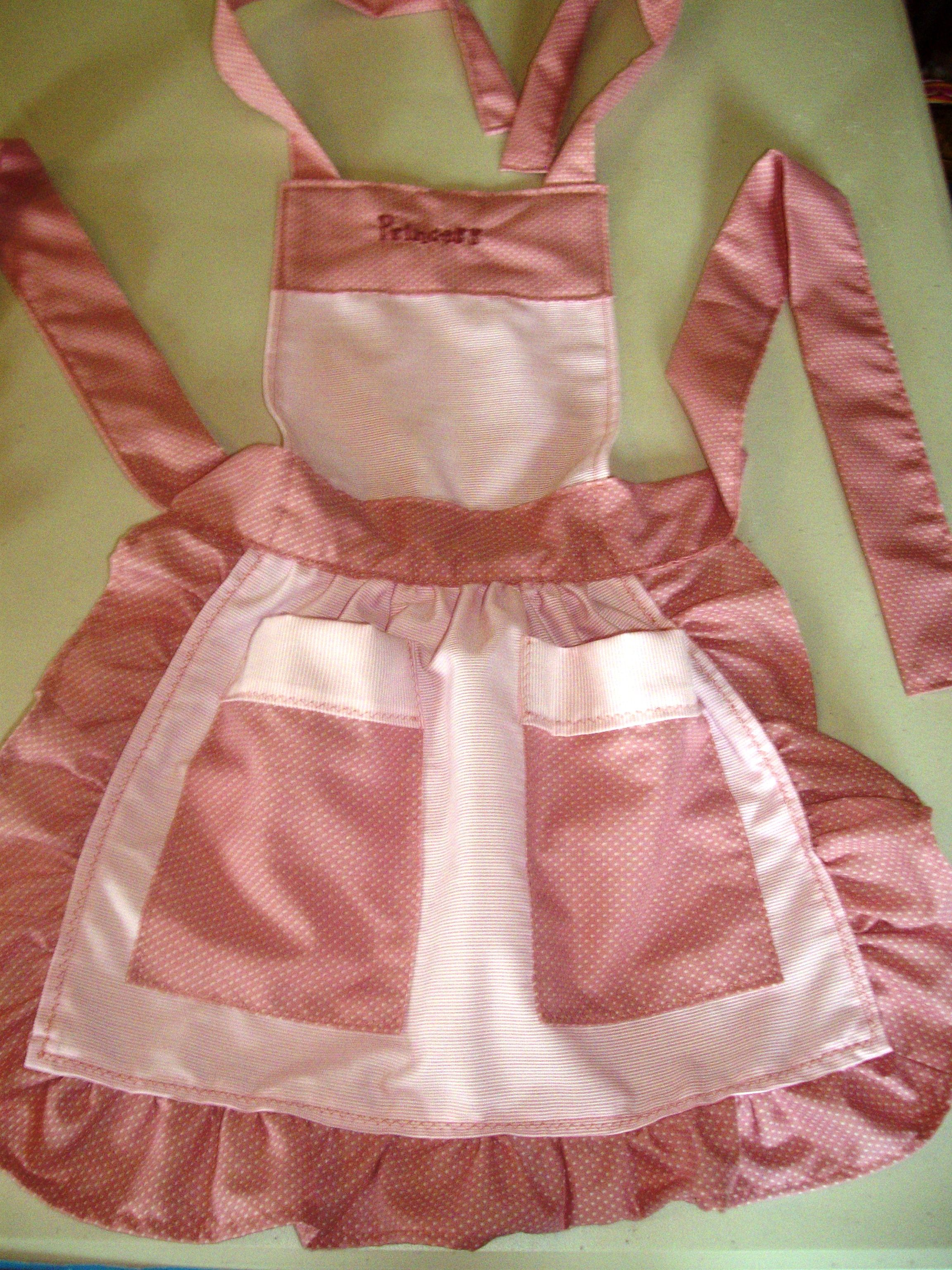 pink ruffled, little girl apron