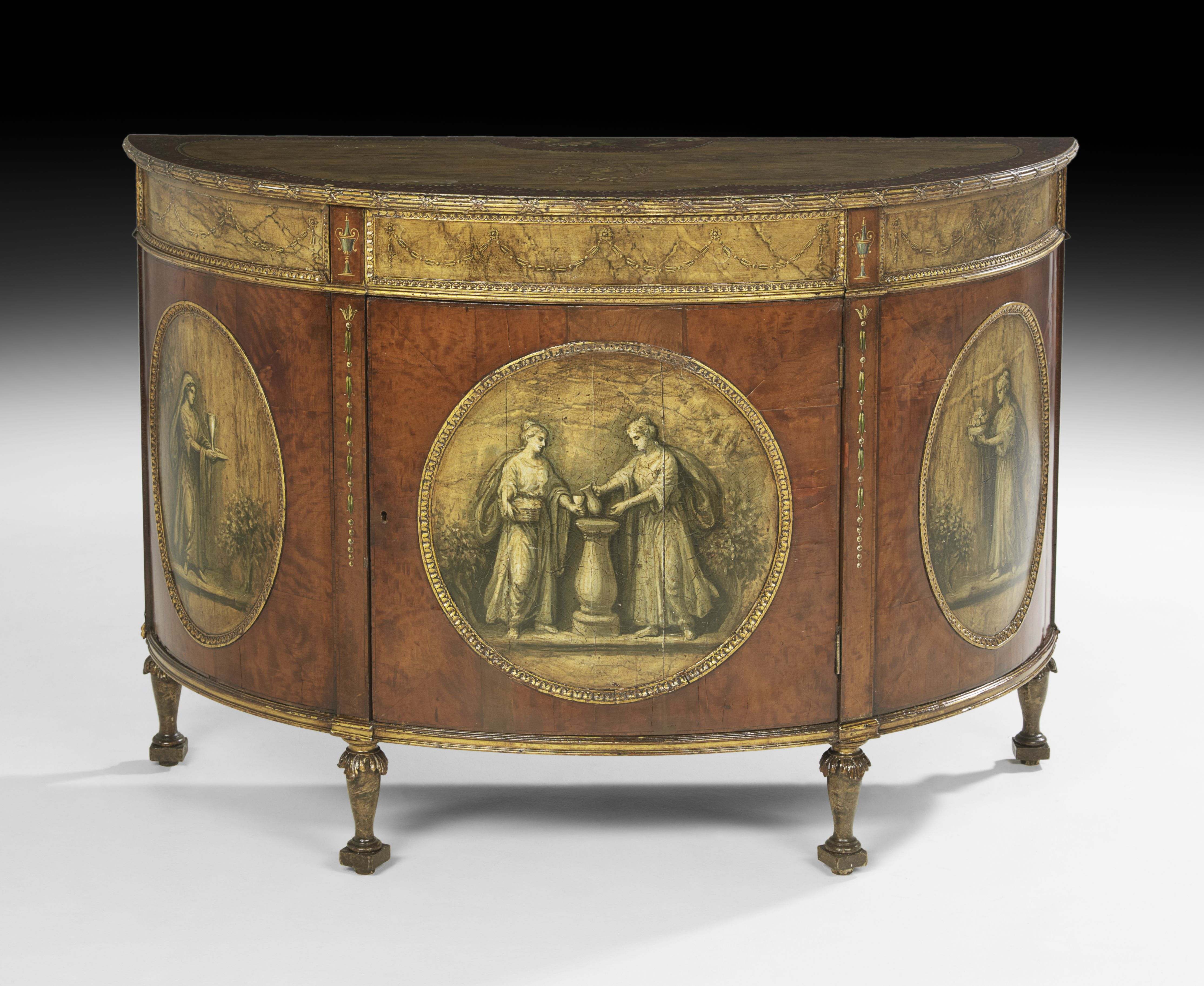 George IIIStyle Walnut Faux Marbre And Polychrome Demilune - Vintage furniture san francisco