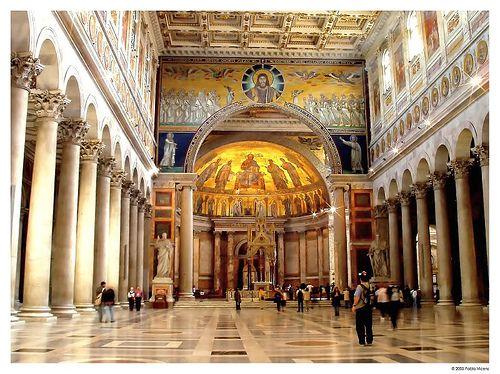 Interior De Basílica San Pablo Extramuros Siglo V Arquitectura Bizantina Arte Romano Orden Jonico