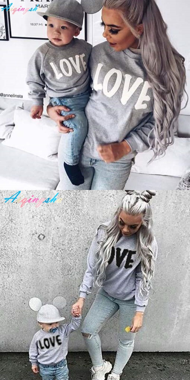 ab6d0c92f 2017 Autumn Winter Family Matching Sweatshirt Sweaters Mom Mother ...