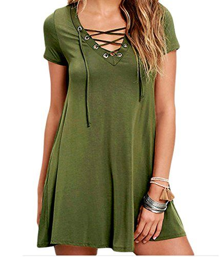 YeeATZ Casual Lace-up Swing Dress(Green,M) >>> More info could be found at the image url.
