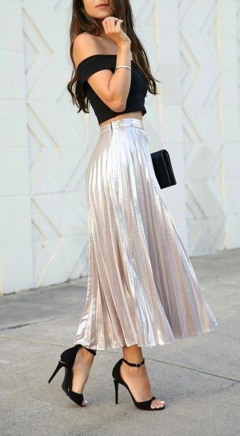 New beige metallic pleated midi length women skirt metalic spring summer