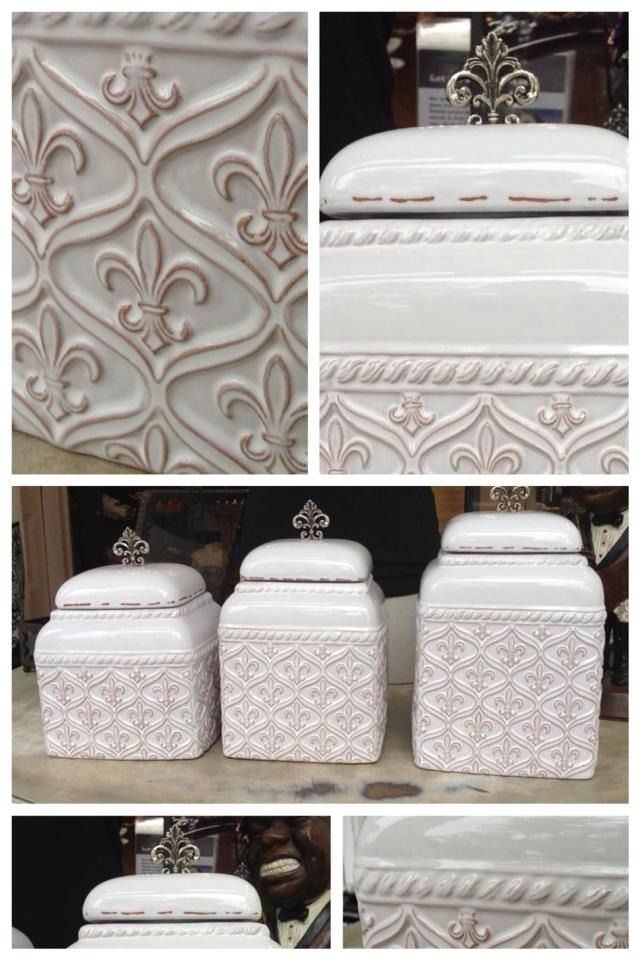 Fleurty Girl   Everything New Orleans   Fleur De Lis Canister Set, .  Gorgeous Glazed White Canister Set For Your Kitchen!