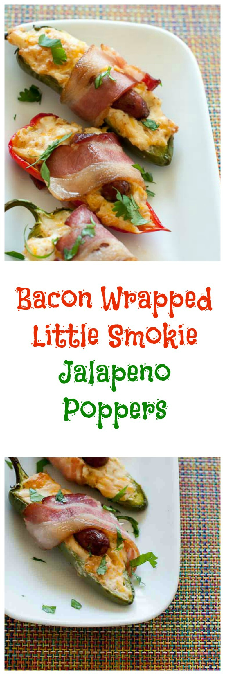 These bacon wrapped little smokie jalapeno poppers are perfect for your next game night, or tailgate event.