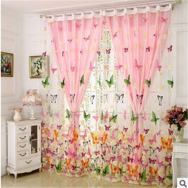 200 X 100cm Butterfly Print Screen Curtain Panel Window Room
