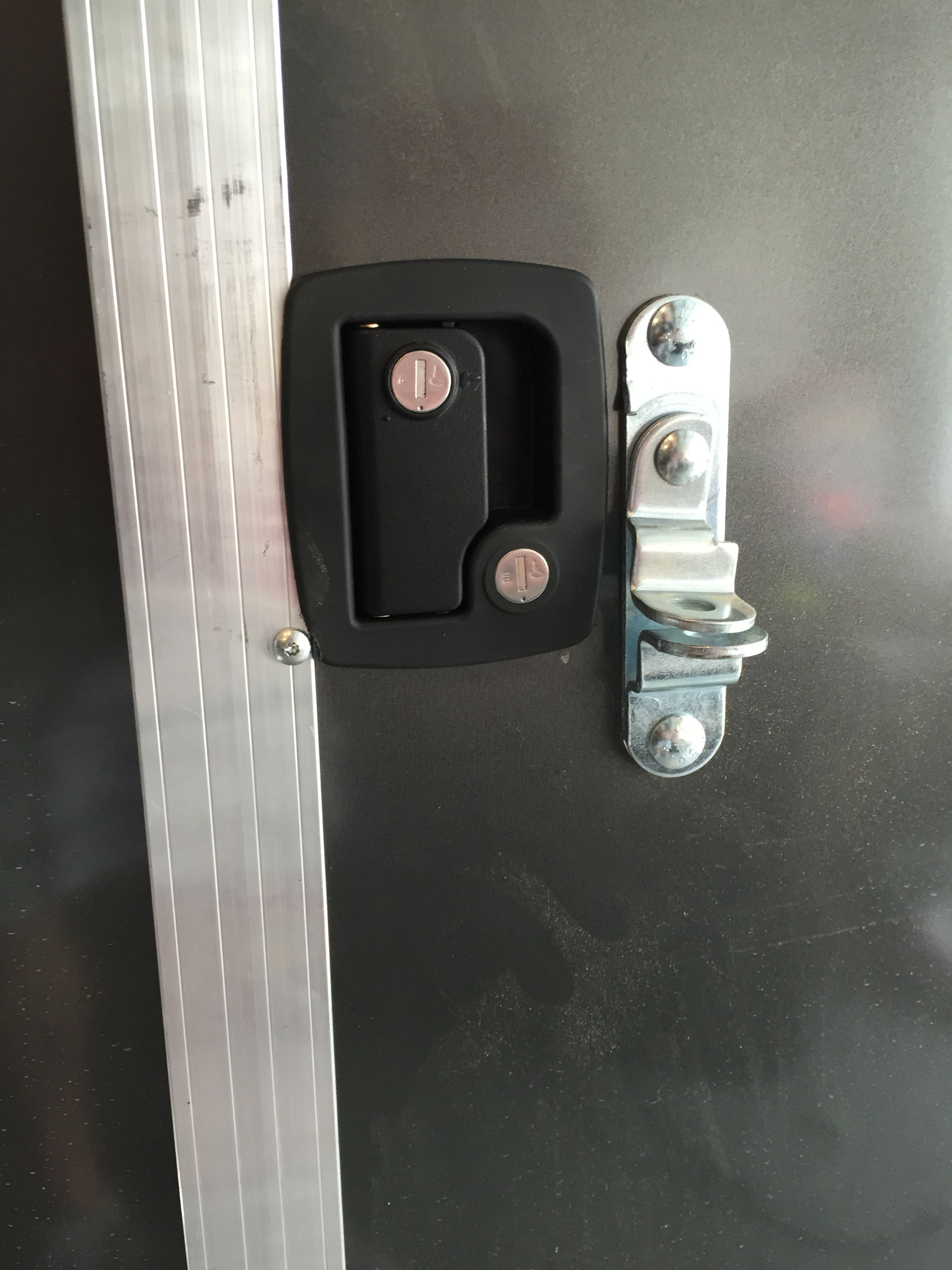 Installed RV door latch with lock / deadbolt & Installed RV door latch with lock / deadbolt | cargo trailer to rv ...