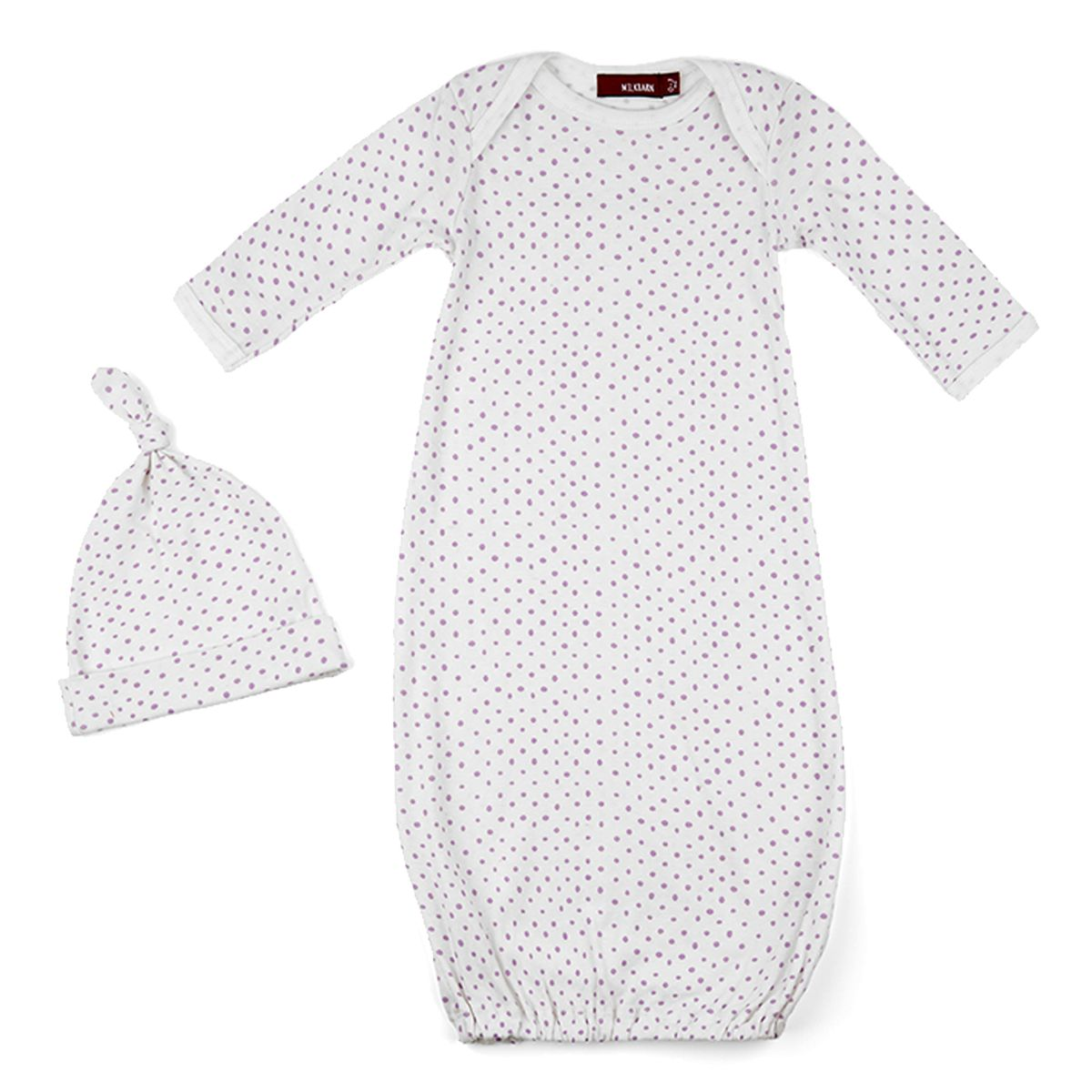 Coming home is easy in this adorable gown and hat set from MilkBarn ...