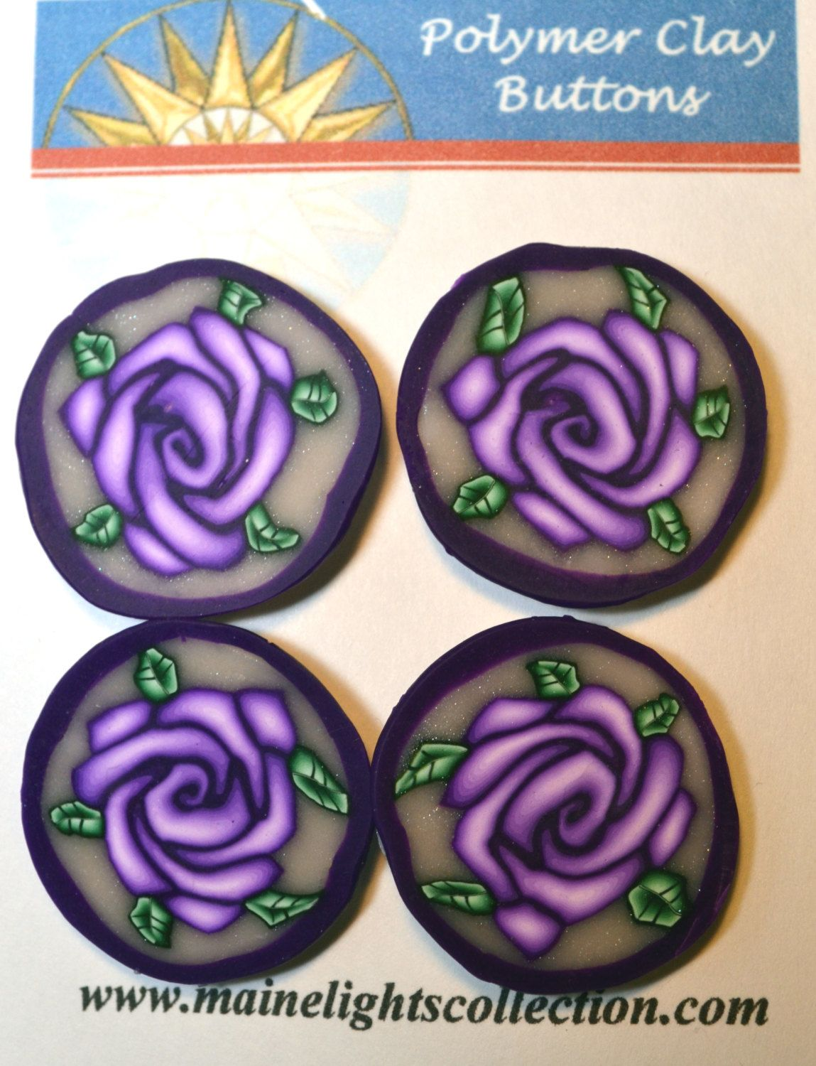 Fancy Polymer Clay Purple Rose Buttons. $14.00, via Etsy.