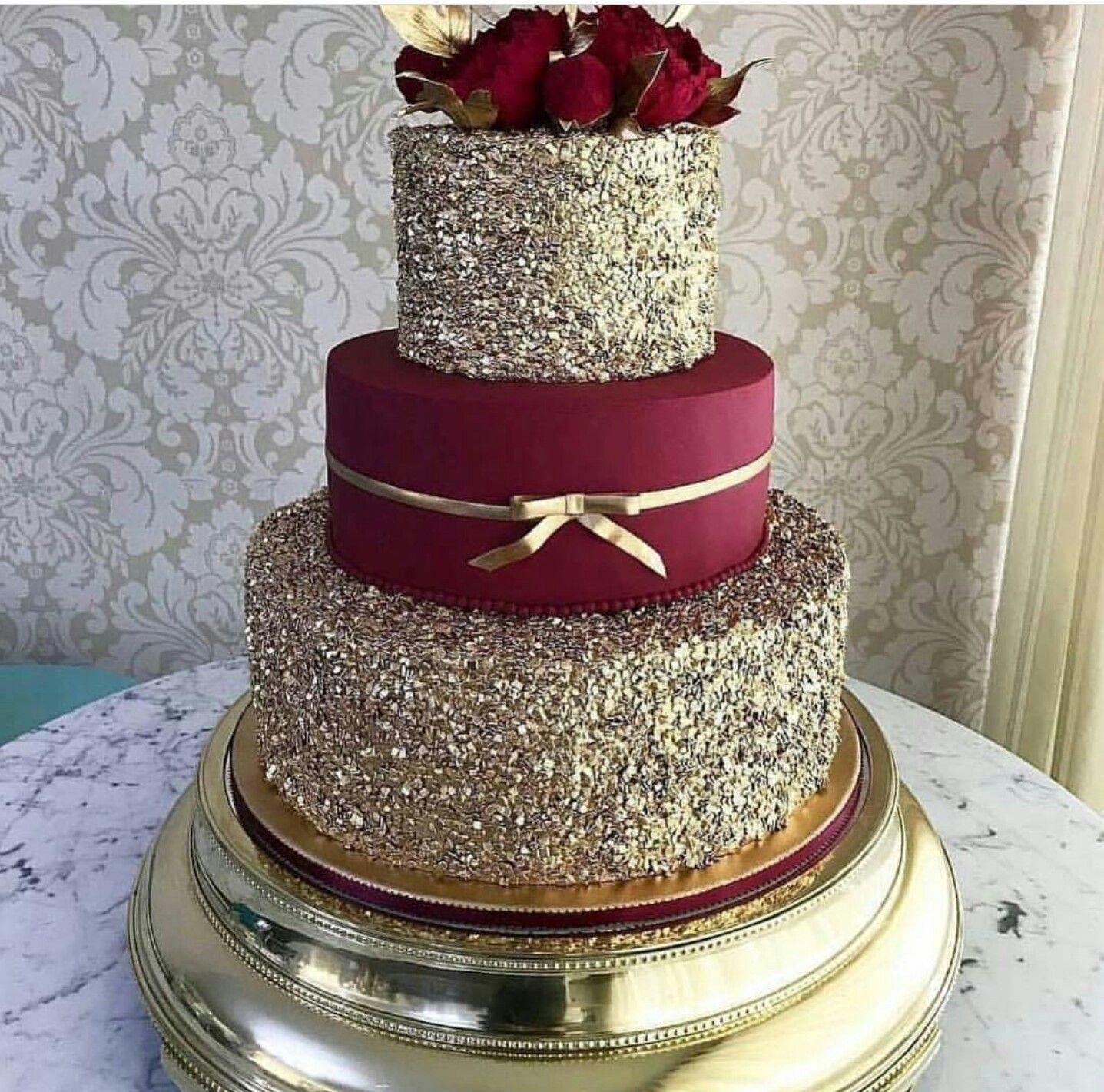 Gold Wedding Cakes: Burgundy And Gold Cake For Wedding #goldweddingcakes