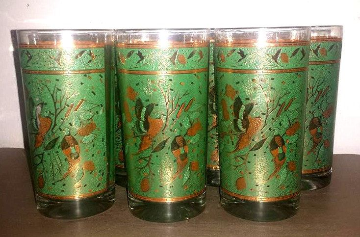 Mid Century Gold Highball Glass,Set of 7,Barware,Gold Cocktail…