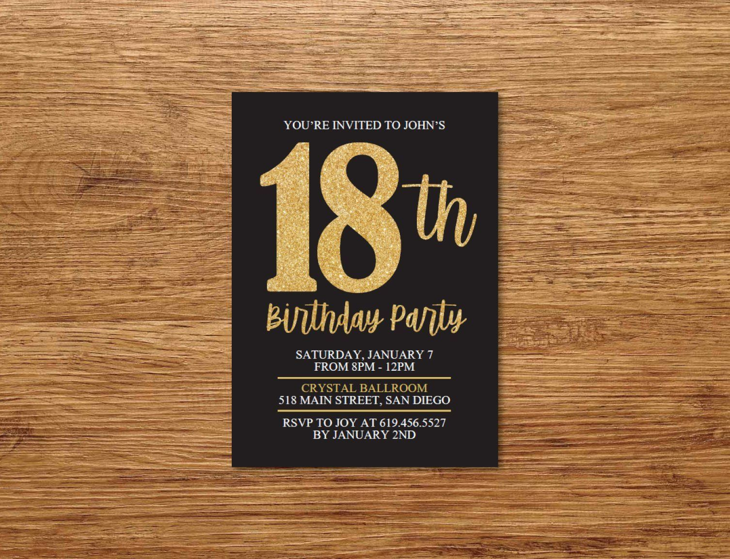 Any Age And Color Black Gold Printable 18th Birthday Etsy 18th Birthday Birthday Invitations Invitations