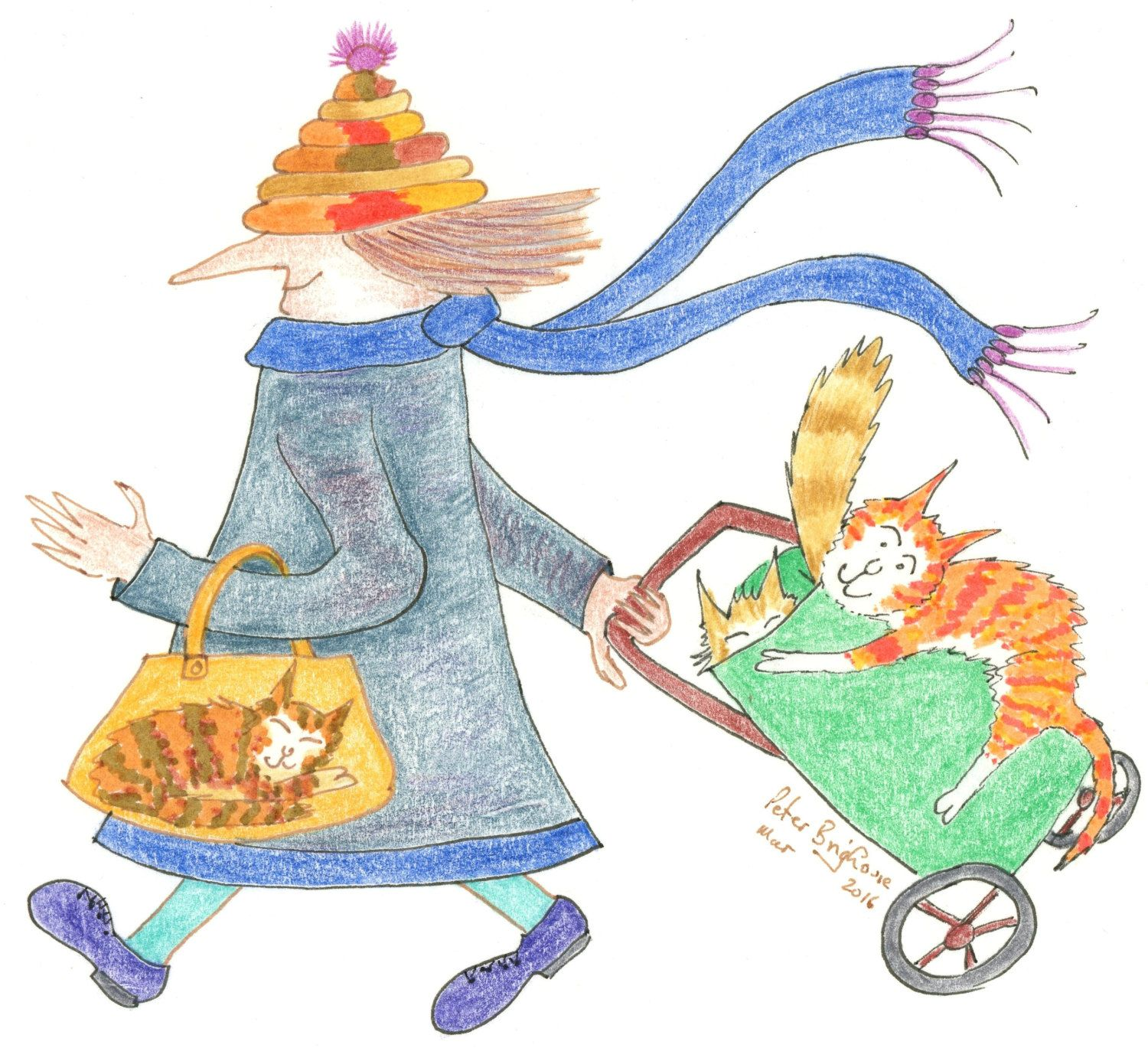C6 card madcatwoman blue grey coat orange ginger cat on shopping card blue grey coat orange ginger cat on shopping trolley small blank greetings card matt finish by mrsquimpscatshop on etsy kristyandbryce Image collections