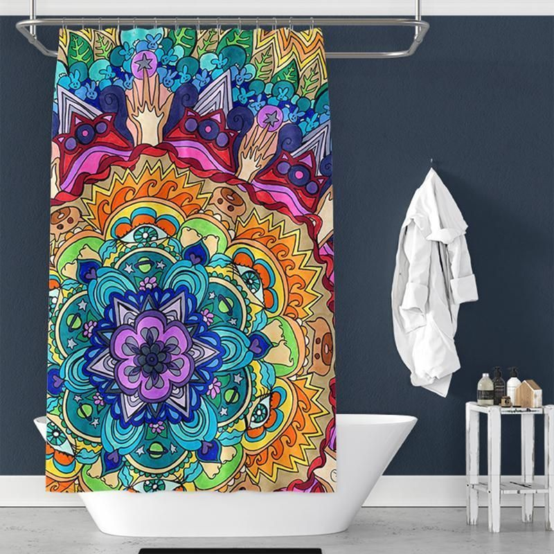Bohemian Pattern Pongee Shower Curtain Interior
