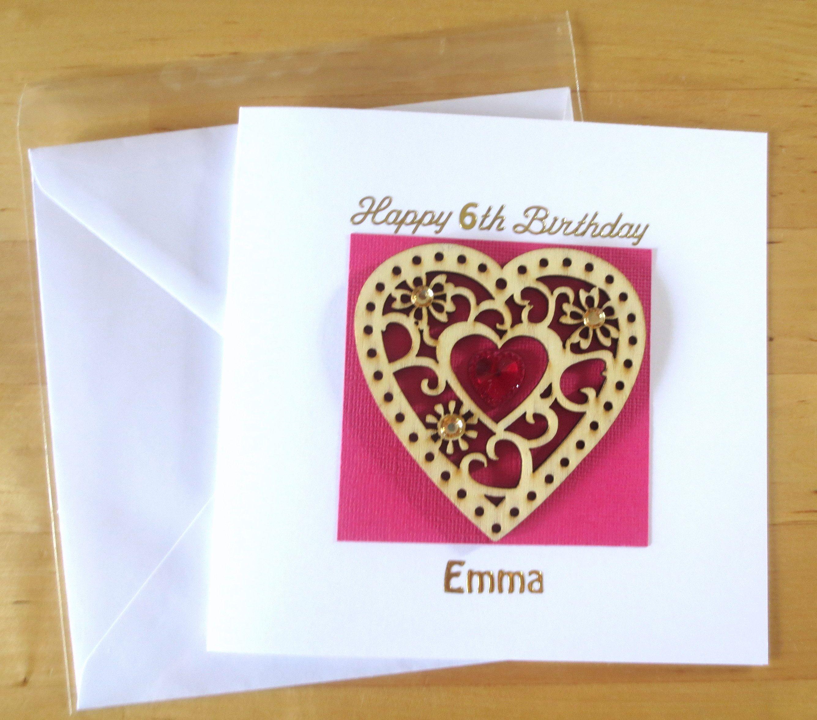 Girls birthday card Children card Personalised Wood