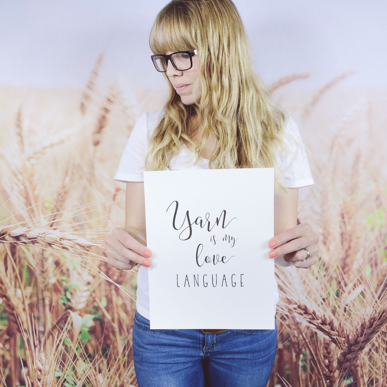 Yarn Is My Love Language Knitting and Crochet Wall Art Digital Print, Typography Quote Craft Room Decor #crochetformoney