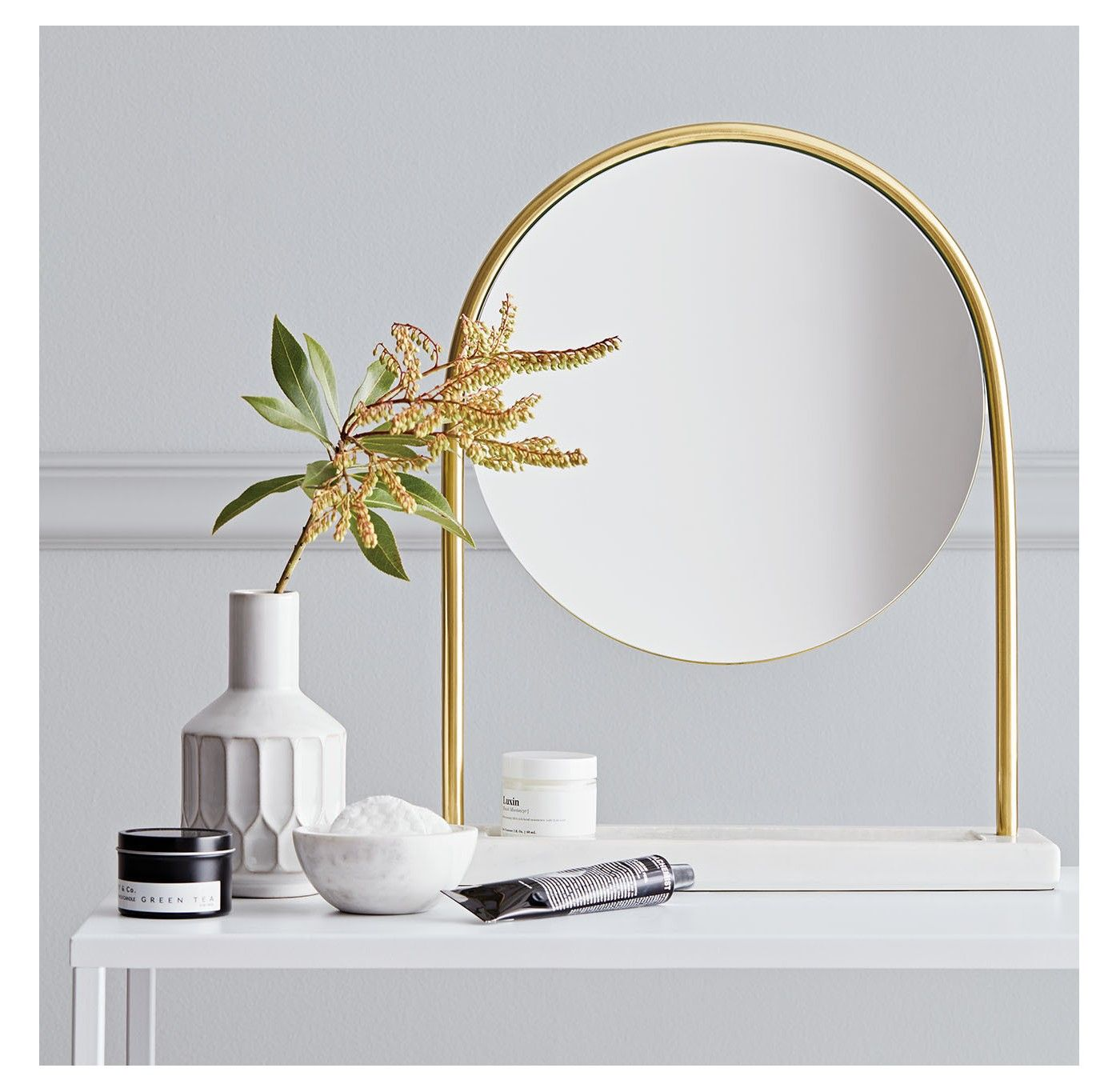 Round Vanity Mirror On Marble Stand Project 62 Target Freestanding Mirrors Target Home Decor Decor Interior Design