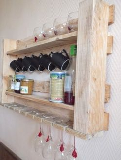 This Would Not Go With Anything In My Kitchen But I Love The Idea Of It.   Pallet Kitchen Shelf In Pallet Kitchen Diy Pallet Ideas With Shelves  Pallets ...
