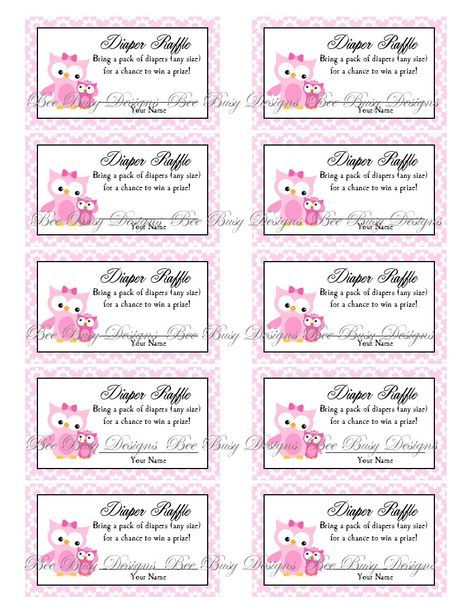 Printable Pink Mom with Little Girl Owl Diaper Raffle Tickets
