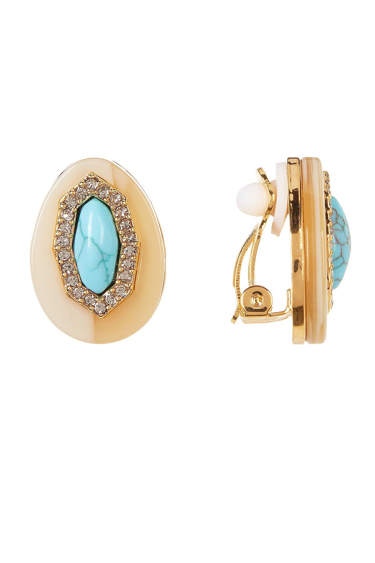 Cabochon Stone Halo Set Crystal Clip-On Earrings