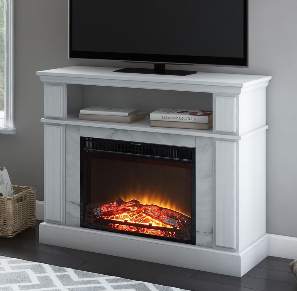 White Media Fireplace Marble Stone Open Shelf 50 Inch Tv Stand