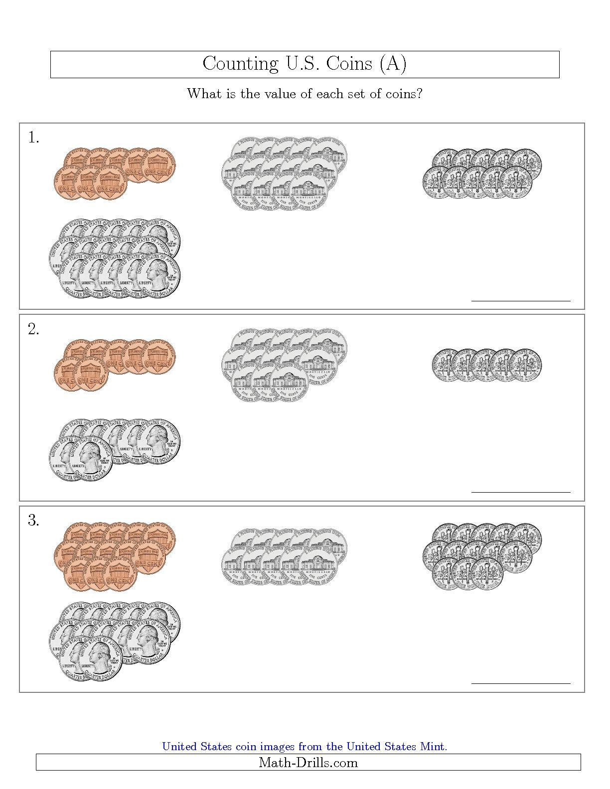 Counting U S Coins Sorted Version A Math Worksheet