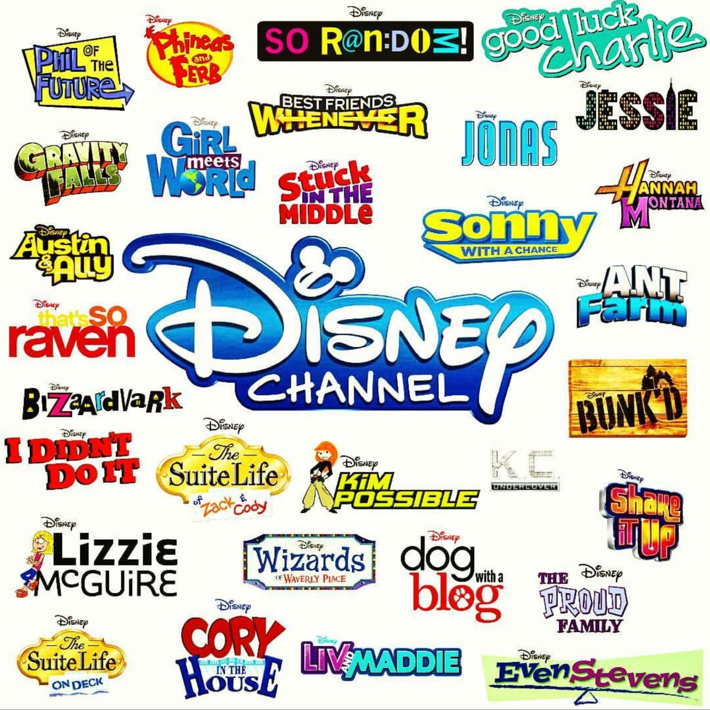 Disney Channel Logos Disney channel shows, Disney