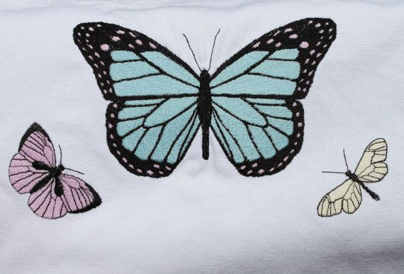 COLOR CHANGING embroidered butterfly tote by ThreadBearQuilting, $25.00